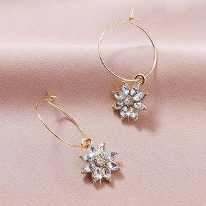 2/$20! Gold Wire Hoops w/Crystal Flowers Earrings